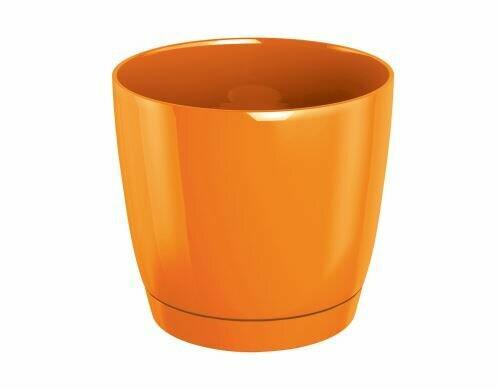 Doniczka COUBI ROUND P z miską pomarańczowa 12cm