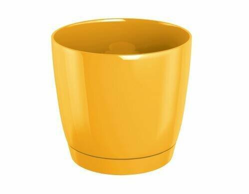 Doniczka COUBI ROUND P z miską żółta 12cm