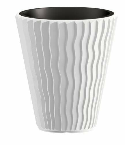 Doniczka SANDY + depozyt biały 29,7 cm