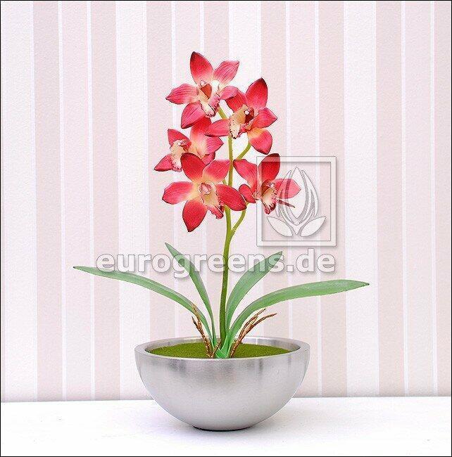Roślina sztuczna Orchidea Cymbidium bordowa 50 cm