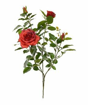Sztuczna gałązka Czerwona róża 70 cm