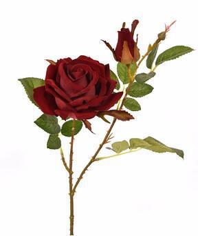 Sztuczna gałązka Róża bordowa 60 cm