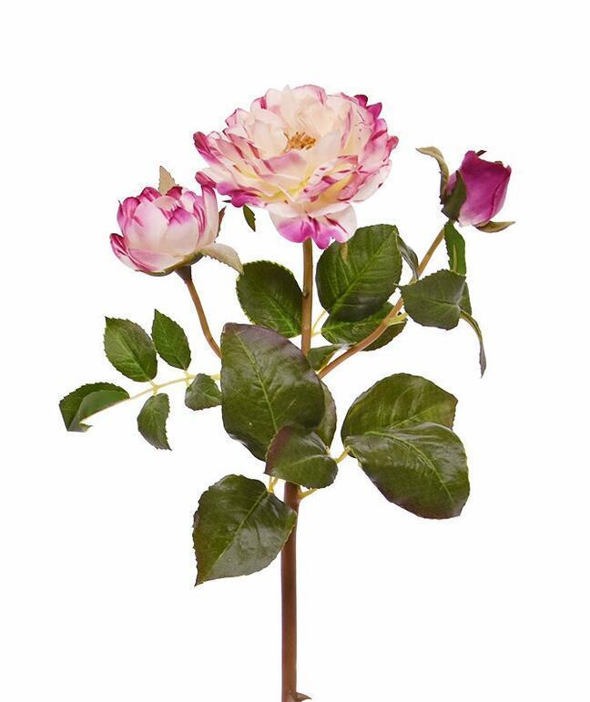 Sztuczna gałązka Różowa róża 50 cm