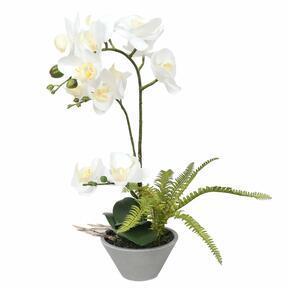 Sztuczna orchidea biała z paprocią 43 cm