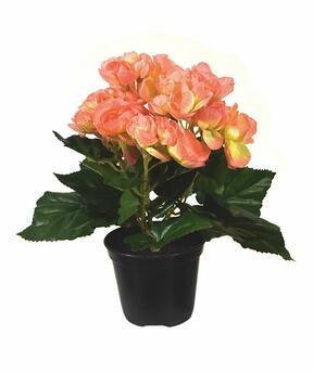 Sztuczna roślina Begonia pomarańczowa 20 cm