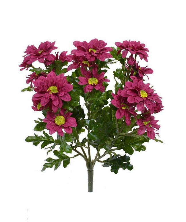 Sztuczna roślina Czerwono-bordowa chryzantema 35 cm