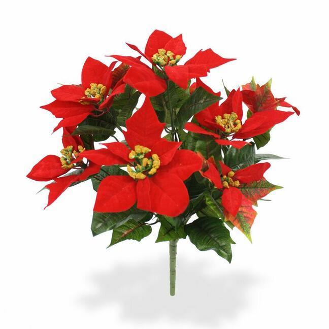 Sztuczna roślina Świąteczna róża czerwona 40 cm