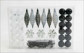 Zestaw czarno-białych ozdób choinkowych 49 szt